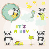 Baby Panda Set - for Baby Shower or Baby Arrival Cards. In vector Stock Photo
