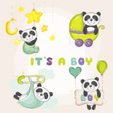 Baby Panda Set - for Baby Shower or Baby Arrival Cards. In vector Stock Photography