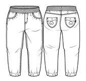 Baby pants. Tech sketch of pants for further product development vector illustration