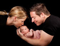 Baby and parents. Family portrait of newborn baby father and mother Royalty Free Stock Photography