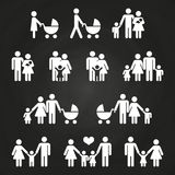 Baby and parents outline icons design - white family pictograms. Vector illustration royalty free illustration