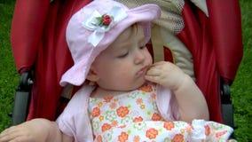 Baby in park stock video