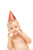 Baby in party cap royalty free stock photos