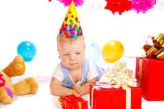Baby in party hat Royalty Free Stock Photos