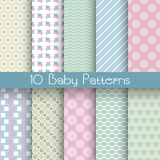 Baby pastel different vector seamless patterns (tiling) Royalty Free Stock Images