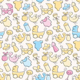 Baby Pattern. Seamless pattern of cute hand-drawn baby elements Royalty Free Stock Image