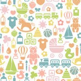 Baby pattern. Seamless pattern with colorful baby icons Stock Image