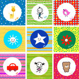 Baby pattern. Colorful cute baby pattern set Royalty Free Stock Photos
