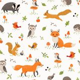 Baby pattern with cute little woodland animals and birds royalty free illustration