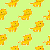 Baby pattern with cute tiger. Seamless baby pattern with a cute little tiger on a light green background vector illustration