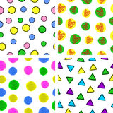 Baby pattern. Four colorful children's pattern on a white backgroundn Royalty Free Illustration