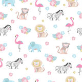 Baby pattern with jungle animals and flowers Royalty Free Stock Photo