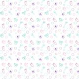 Baby pattern, wrapping paper, toy, diaper, arm, leg,. This seamless pattern consists of pampers, hand, leg, toy. A gentle pattern for kids, postcards, wallpaper Royalty Free Stock Photos
