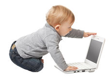 Baby with pc Stock Image