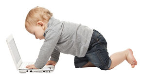 Baby with pc Royalty Free Stock Photos