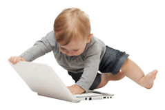 Baby with pc Royalty Free Stock Photography