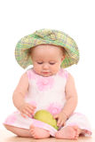 Baby and pear Stock Photos