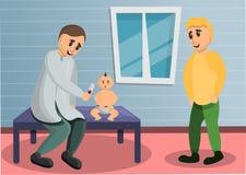 Baby pediatrician concept banner, cartoon style stock illustration