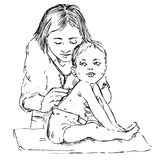 Baby and pediatrician, listening with stethoscope, hand drawn doodle, sketch stock illustration