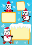 Baby penguin and billboard. Design element. Stock Photography