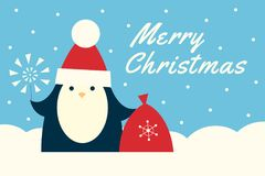 Baby penguin santa blue banner. Web banner with text Merry Christmas. Vector retro styled illustration of a baby penguin in a Santa hat holding red sack and Stock Photos