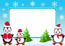 Baby penguins. Christmas frame. Stock Image