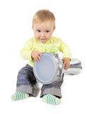 Baby percussionist. Sitting baby with darbuka drum on white background Stock Photo