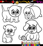 Baby pets cartoon set coloring page Royalty Free Stock Image