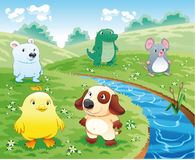 Baby pets near the river. Funny cartoon and scene vector illustration