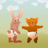 Baby pets wearing diapers. Cute baby pets (bunny and cat) wearing diapers Stock Image