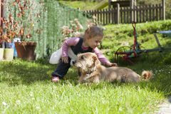 Baby petting dog Stock Photos