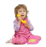 Baby with phone Royalty Free Stock Image