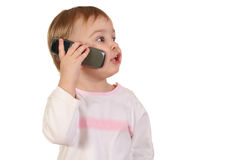 Baby with phone Stock Photos
