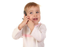 Baby with phone 4 Stock Photos