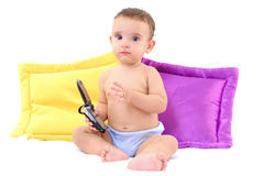 Baby and Phone Stock Photography