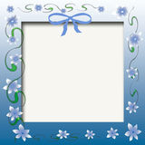 Baby photo frame. Blue flowers and green vines scrapbook frame Stock Photography