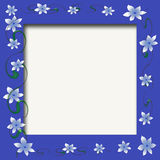 Baby photo frame. Blue flowers and green vines scrapbook frame Royalty Free Stock Photography
