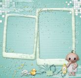 Baby photo frame baby in the bathroom. On a blue background with drops baby frame for photography kid in the bathroom Stock Photos