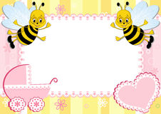 Baby photo frame with bee. Vector illustration stock illustration