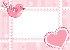 Baby photo frame with bird. Stock Images