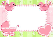 Baby photo frame with birds. Vector illustration Stock Photography