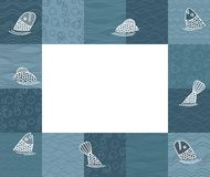 Baby photo frame or card with fishes. Vector Stock Photo