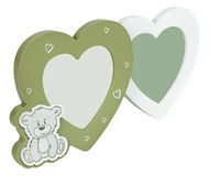 Baby photo frame hearts on isolaed white background royalty free illustration