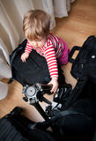 Baby with photography gear Royalty Free Stock Photos