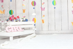 Baby photography studio background setup Royalty Free Stock Photo