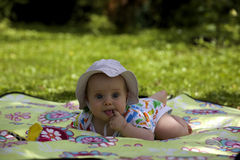 Baby on the picnic carpet in grass Stock Images