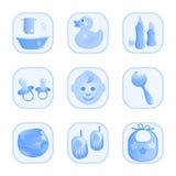 Baby-pictogrammen in blauw. Stock Afbeelding