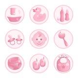 Baby-pictogrammen in roze. Royalty-vrije Stock Afbeelding