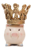 Baby piggy bank with crown Royalty Free Stock Photography