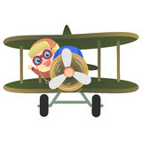 Baby Pilot Riding a Plane Stock Image